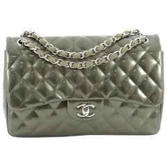 Chanel Classic Double Flap Bag Quilted Striped Metallic Patent Jumbo