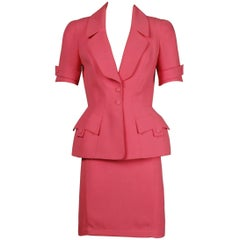 1980s Thierry Mugler Vintage Bubblegum Pink Jacket + Skirt Suit 2-Piece Ensemble