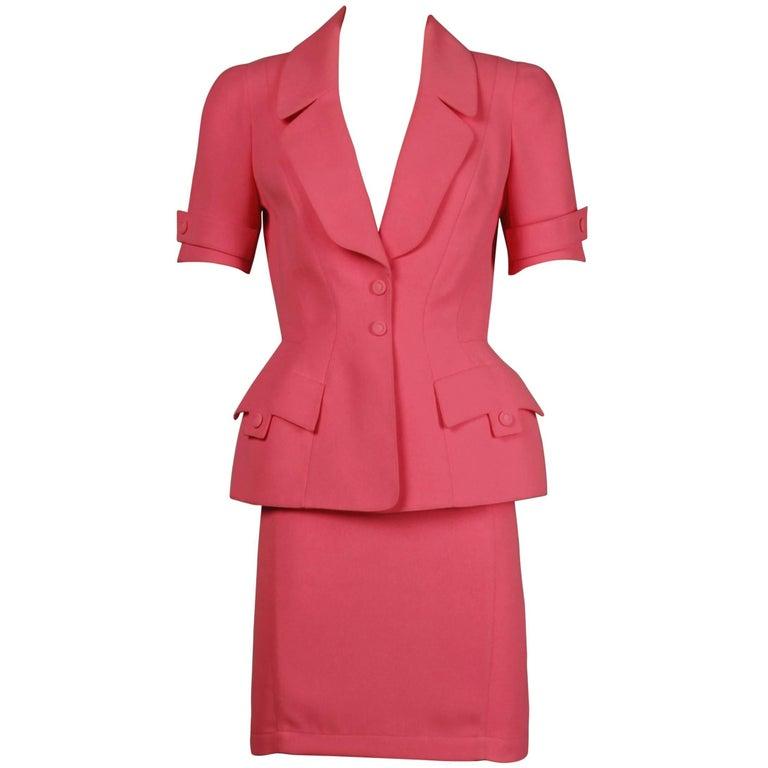 1980s Thierry Mugler Vintage Bubblegum Pink Jacket + Skirt Suit 2-Piece Ensemble