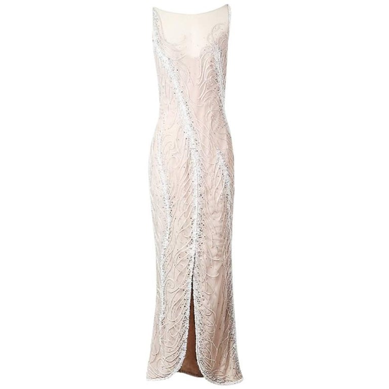 Bob Mackie Embellished Gown with Tulip Hem For Sale at 1stdibs