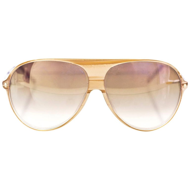 Christian Dior Gold & Purple Les Marquises Aviator Sunglasses with Case