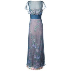 Vintage Valentino Floral Dress with Chiffon Overlay