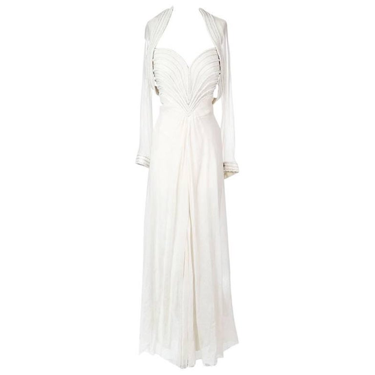 Bob Mackie Embellished Sweetheart Dress with Chiffon Cardigan