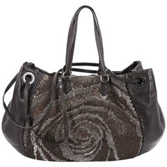 Valentino Glam Tote Sequins and Leather Medium