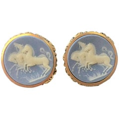 "Mid-Century Gold Wedgwood Cameo Style Incolay ""Wild Horses"" Cufflinks By, Dante"