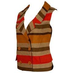 1960s Nina Ricci Vintage Linen Striped Mod Vest Top