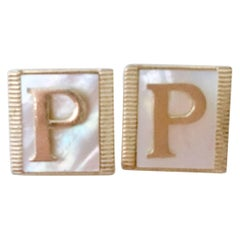 "Vintage Pair Gold Plate & Mother Of Pearl ""P"" Mongoram Cufflinks"
