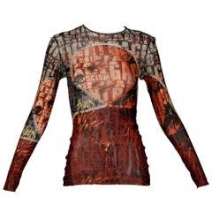 """1990s Vintage Jean Paul Gaultier Sheer Mesh """"Racism"""" Print Top or Shirt"""