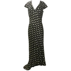 Moschino Couture! Black and White Silk Polka Dot Long Maxi Dress, 1980s