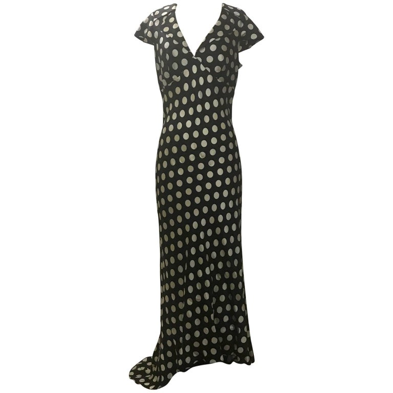 Moschino Couture! 1980s Black and White Silk Polka Dot Long Maxi Dress  1