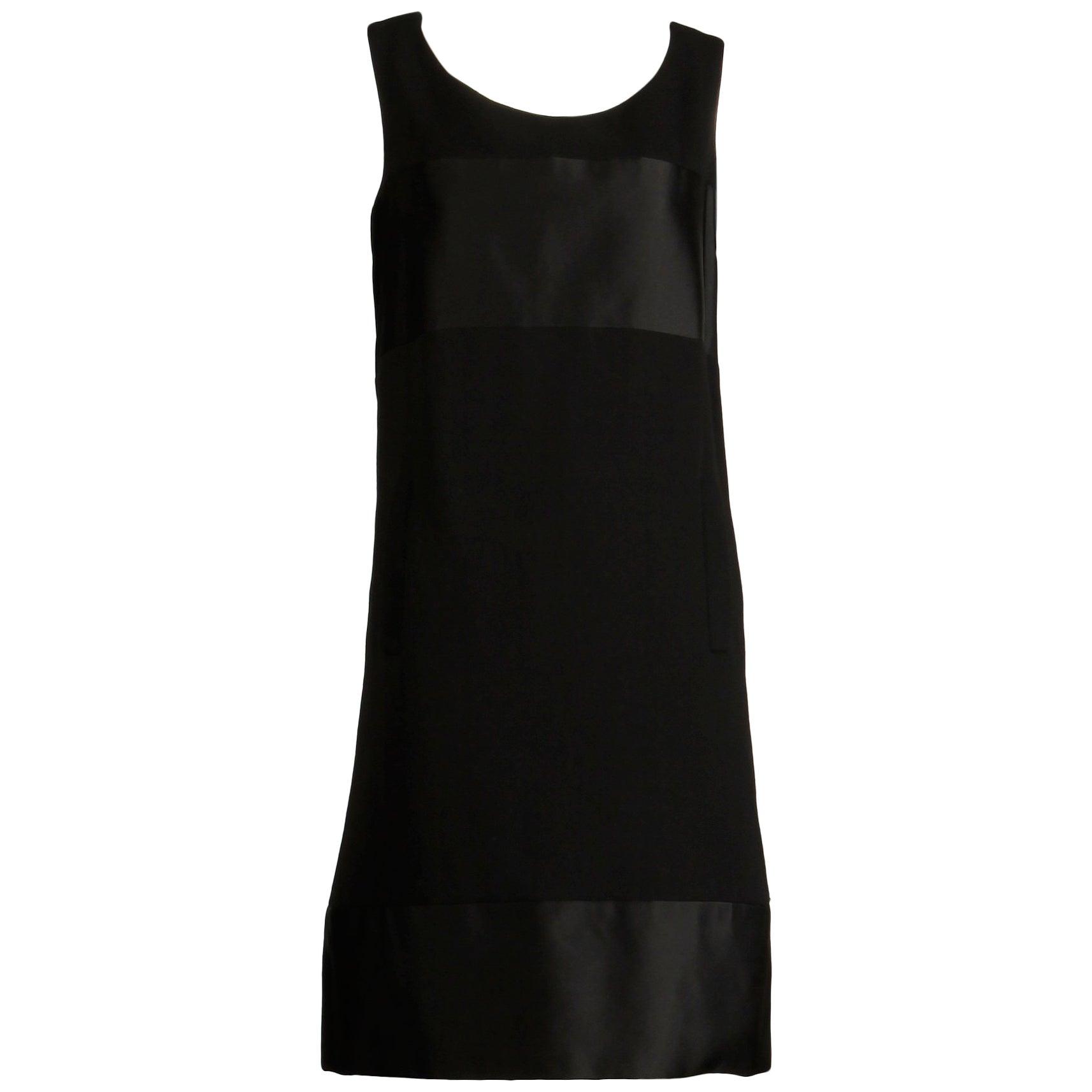 1960s Geoffrey Beene Vintage Black Wool + Silk Fabric Block Mod Shift Dress