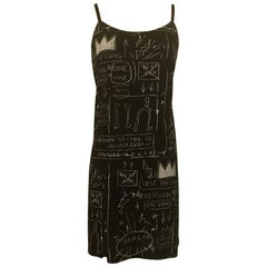 New Alice & Olivia Basquiat Graffiti Print Black and White Silk Blend Slip Dress