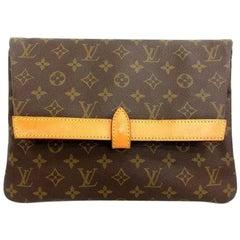 70's, 80's vintage Louis Vuitton monogram Pochette Pliante clutch, document bag.