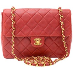 "Vintage Chanel 8"" Flap Red Quilted Leather Shoulder Mini Bag"
