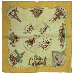 Hermes Yellow Printed Square Silk Scarf