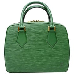 Louis Vuitton Sablon Green Epi Leather Hand Bag
