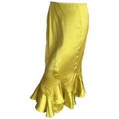 Yves Saint Laurent by Tom Ford 2004 Chartreuse Ruffle Silk Skirt sz 36