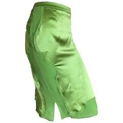 Yves Saint Laurent by Tom Ford 2004 Green Silk Skirt NWT 42