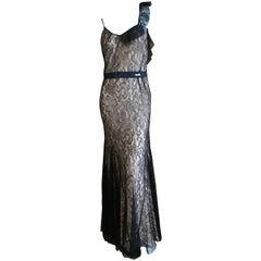 John Galliano Black Lace Evening Dress with Pale Pink Lining