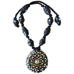 Maria Snyder Black Jeweled Necklace