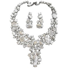 Kenneth Jay Lane Mother-of-Pearl Bib Necklace and Drop Earrings