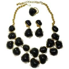 Signed Kenneth Jay Lane Black & Crystal Bib Necklace, Earrings & Ring Set