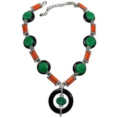 Signed Kenneth Jay Lane Faux Jade, Coral & Crystals Drop Necklace