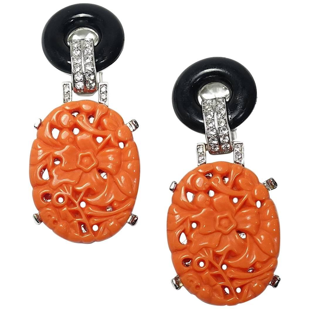 Kenneth Jay Lane Carved Amber Drop Earrings Amber QZq3k