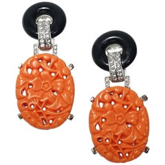 Signed Kenneth Jay Lane Deco Carved Faux Coral & Crystals Earrings