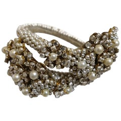 Early 1930s Vintage Miriam Haskell Faux Pearl & Crystals Wrap Bracelet