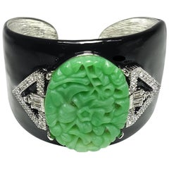Signed Kenneth Jay Lane (KJL) Deco Style Carved Faux Jade Cuff Bracelet