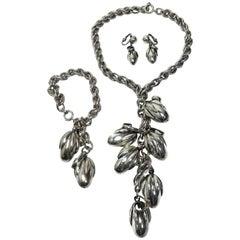 Famous Vintage Signed Napier Acorn Drop Necklace, Bracelet & Earrings