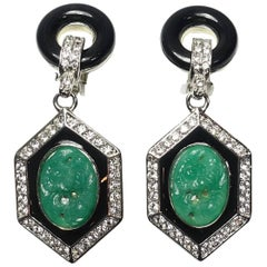 Signed Kenneth Jay Lane Carved Faux Jade and Crystal Earrings