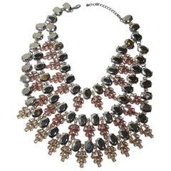 Magnificent Runway Hematite & Pink Crystals Bib Necklace