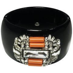 Signed Kenneth Jay Lane Deco Faux Coral & Crystals Clamper Bracelet