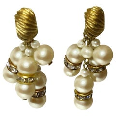 Trifari Vintage Faux Pearl Dangle Drop Earrings