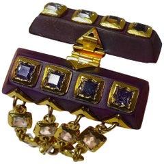 Vintage Unusual 1970s Multi-4-Strand Crystals & Purple Wood Bracelet