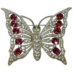 Vintage 1940s Pink, Green, Clear Crystals Butterfly Brooch – Starret?