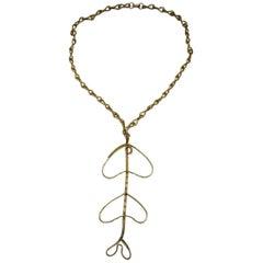 Vintage 1970s Faux Gold Drop Necklace