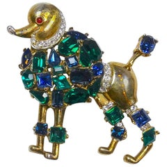 Vintage 1940s Signed Trifari Multi-Color Crystals Sterling Silver Poodle Brooch