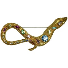 Signed Kenneth Jay Lane Multi-Color Snake Brooch