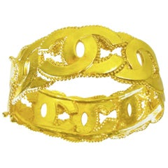 """Vintage Chanel Double """"C"""" Cuff Bracelet"""