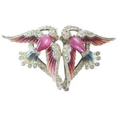 Rare Vintage 1940s Coro Love Shaped Bird Duette Brooch