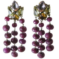 Vintage 1980s Iradj Moini Gemstone Ruby Dangling Earrings