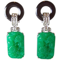 Signed Kenneth Jay Lane KJL Faux Jade & Black Drop Earrings