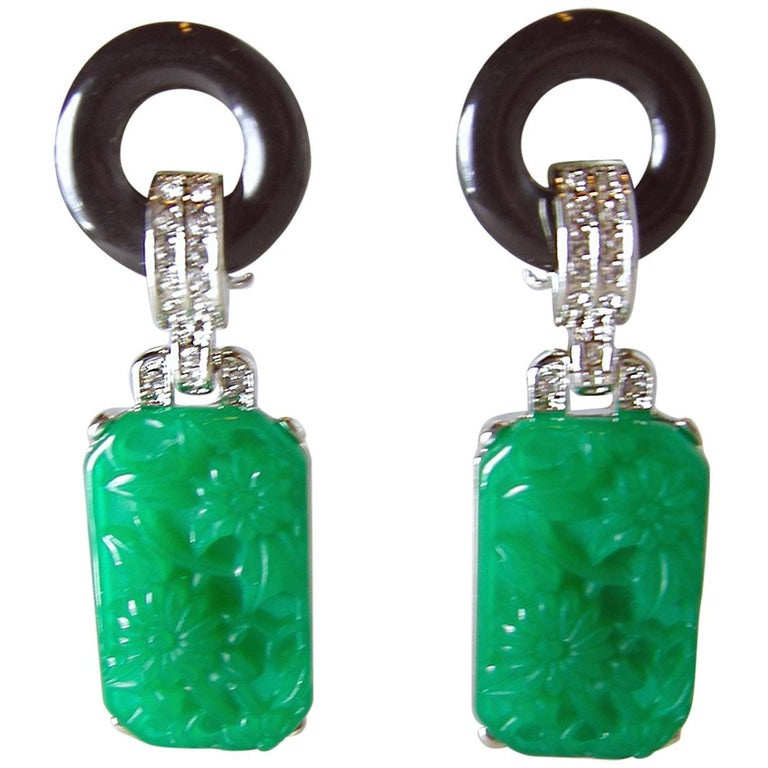 Signed Kenneth Jay Lane Kjl Faux Jade Black Drop Earrings For