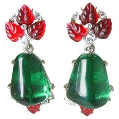 Kenneth Jay Lane Matching Tutti Fruity Drop Clip Earrings