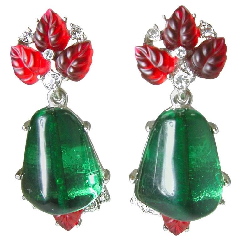 Kenneth Jay Lane Matching Tutti Fruity Drop Clip Earrings For