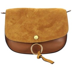 Chloe Kurtis Shoulder Bag Leather and Suede Small