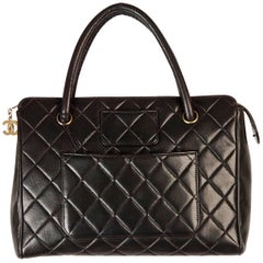 CHANEL Vintage Black Quilted HANDBAG Satchel w/ Exterior Pockets